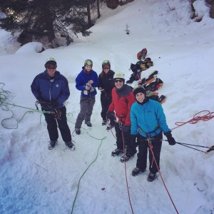 A group ice climbing in Telluride Colorado